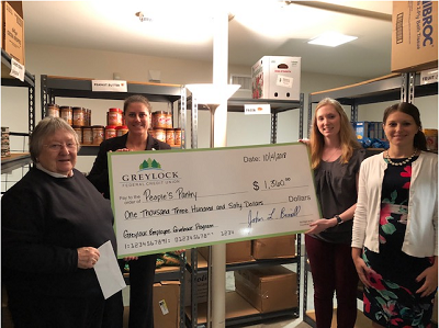 The Greylock Employee Community Giveback Program (GECGP) raised $1,360.00 for the People's Pantry. (left to right) Rosemary Carpenite, People's Pantry; Greylock's Jen O'Neil, Emily Stanford and Katy Broggi.