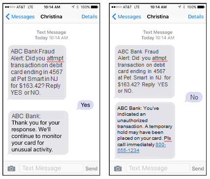 two way text debit card fraud alerts